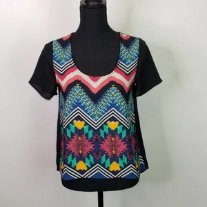 Collective Concepts Abstract U Neck Top XS